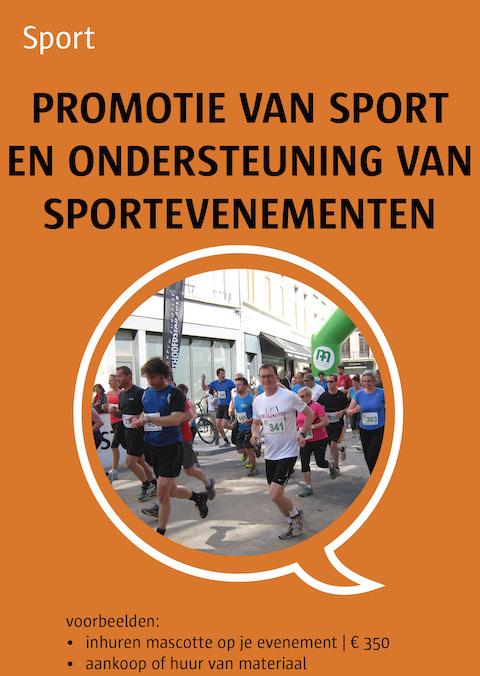 promotie van sport en ondersteuning van sportevenementen